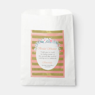 Gold and Pink Stripes Floral Bridal Shower Favour Bags