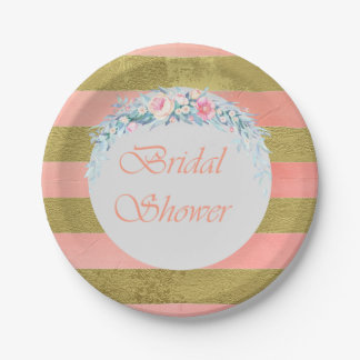 Gold and Pink Stripes Floral Swag Bridal Shower Paper Plate