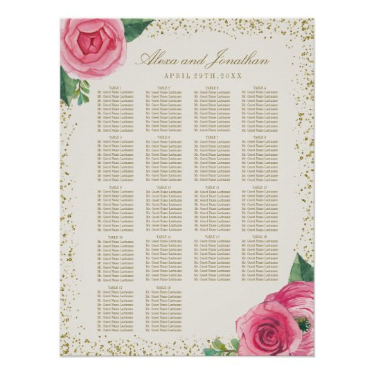 Gold and Pink Watercolour Roses Seating Chart