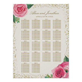 Gold and Pink Watercolour Roses Seating Chart Poster