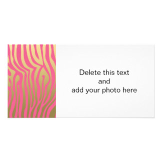 Gold and Pink Zebra Stripes Pattern Custom Photo Card