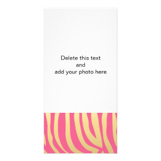 Gold and Pink Zebra Stripes Pattern Photo Card