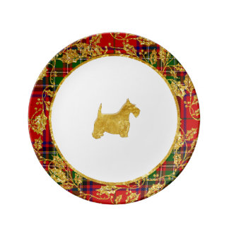 Gold and Plaid Scottie Christmas Plate