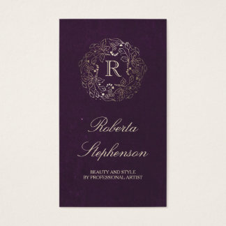 Gold and Plum Floral Wreath Monogram Vintage Business Card