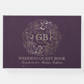 Gold and Plum Floral Wreath Vintage Wedding Guest Book