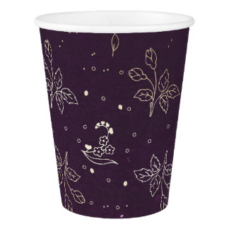 Gold and Plum Purple Floral Vintage Wedding Paper Cup