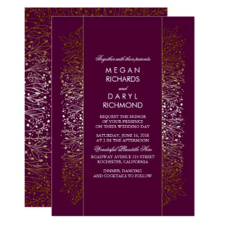 Gold and Plum Vintage Baby's Breath Wedding Card