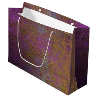Gold and purple abstract design large gift bag