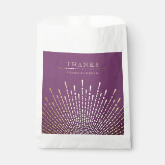 Gold and purple art deco vintage wedding thank you favour bags
