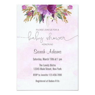 Gold and Purple Baby Shower Invitation