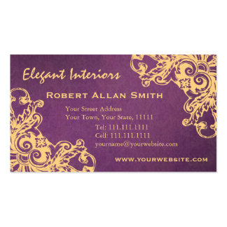 Gold and Purple Baroque Renaissance Damask Grunge Double-Sided Standard Business Cards (Pack Of 100)