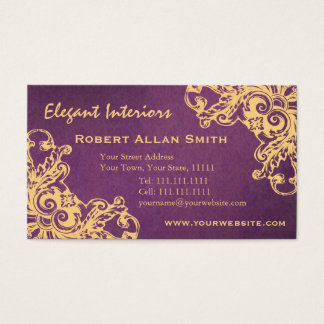 Gold and Purple Baroque Renaissance Damask Grunge Business Card