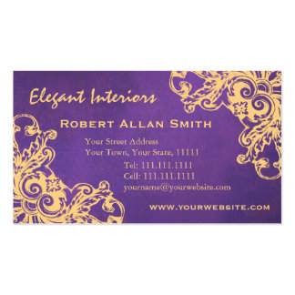 Gold and Purple Baroque Renaissance Grunge Elegant Business Card Template