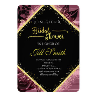 Gold and Purple Bridal Shower Invitation