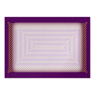 Gold And Purple Celtic Rectangular Spiral 13 Cm X 18 Cm Invitation Card