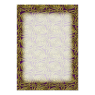 Gold And Purple Celtic Spiral Knots Pattern 13 Cm X 18 Cm Invitation Card