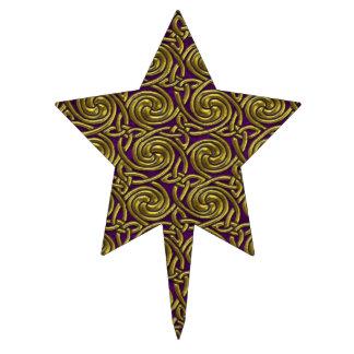 Gold And Purple Celtic Spiral Knots Pattern Cake Picks