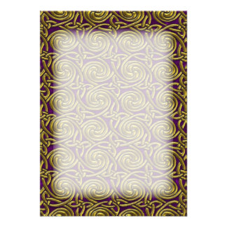 Gold And Purple Celtic Spiral Knots Pattern Announcement