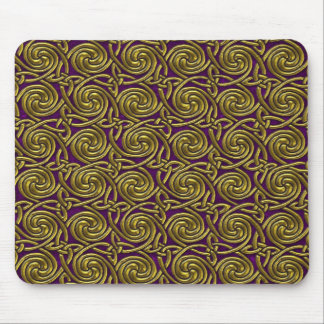 Gold And Purple Celtic Spiral Knots Pattern Mouse Pad