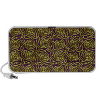 Gold And Purple Celtic Spiral Knots Pattern Notebook Speaker