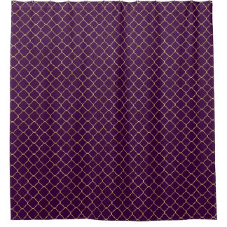 Gold and Purple Chic Quatrefoil Shower Curtain