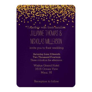 Gold and Purple Confetti Dots Wedding 13 Cm X 18 Cm Invitation Card