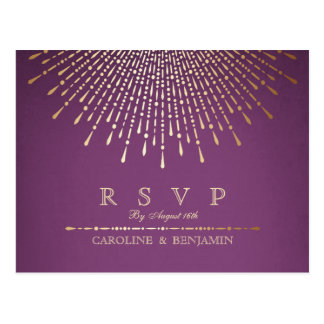 Gold and purple deco vintage wedding RSVP Postcard