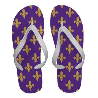 Gold and purple fleur de lis flip flops