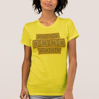 Gold and purple geometric design tee shirt