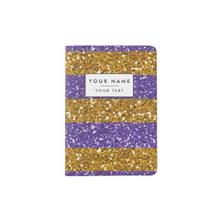 Gold and Purple Glitter Stripes Printed Passport Holder
