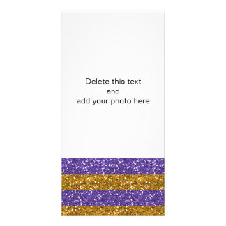 Gold and Purple Glitter Stripes Printed Photo Card