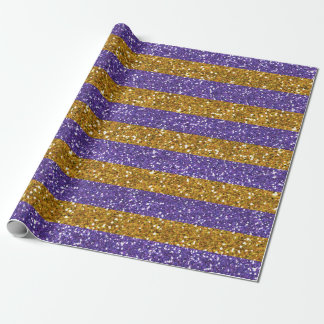 Gold and Purple Glitter Stripes Printed Wrapping Paper