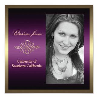 Gold and Purple Graduation Invitation