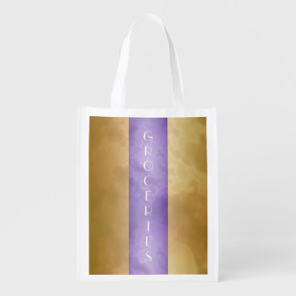 Gold and Purple Groceries Bag