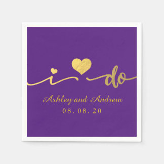Gold and Purple I Do | Wedding Paper Napkin