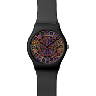 Gold and Purple Lace Mandala Wristwatches