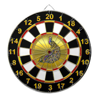 Gold and purple peacock gold plated foil design dartboard