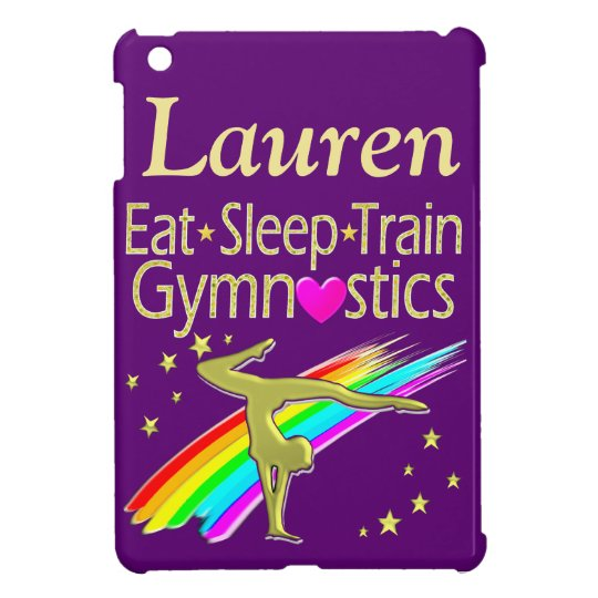 GOLD AND PURPLE PERSONALIZED GYMNAST IPAD CASE