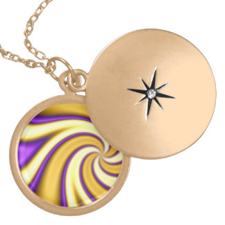 gold and purple spiraling abstract round locket necklace