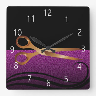 Gold and purple stylish hair salon clock