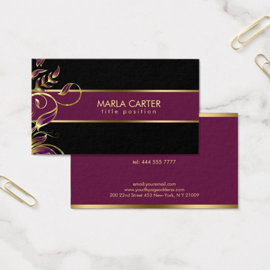 Gold And Purple Swirls Business Card
