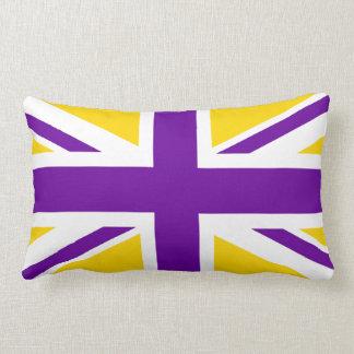 Gold and Purple Union Jack Lumbar Cushion