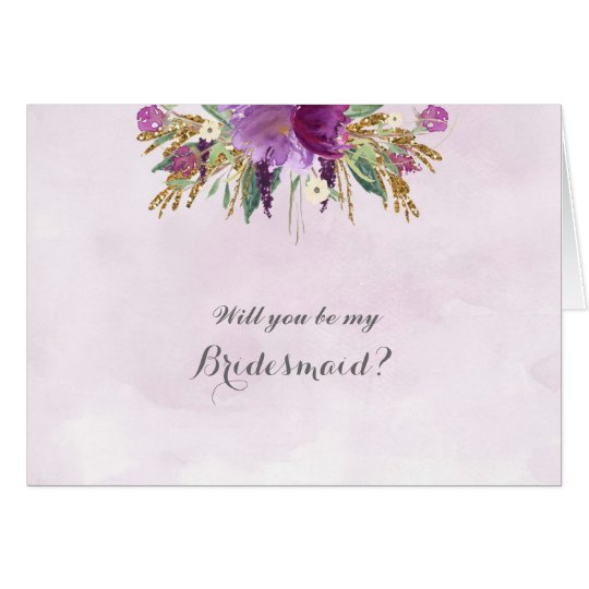 Gold and Purple Will You Be My Bridesmaid