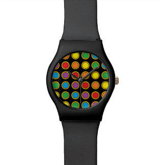 Gold and Rainbow Polk Dots Watch
