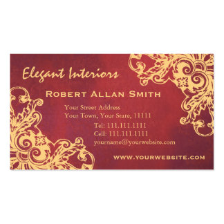 Gold and Red Baroque Renaissance Grunge Elegant Business Cards