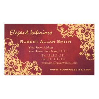 Gold and Red Baroque Renaissance Grunge Elegant Pack Of Standard Business Cards