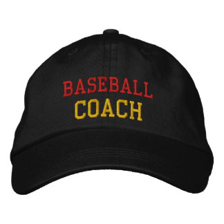 Gold and Red Baseball Coach Embroidered Hat