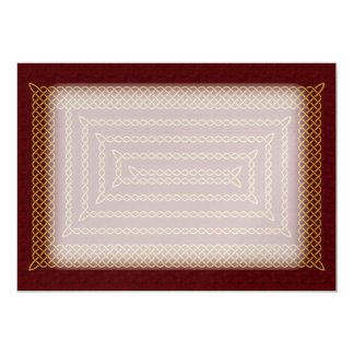 Gold And Red Celtic Rectangular Spiral 13 Cm X 18 Cm Invitation Card