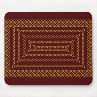 Gold And Red Celtic Rectangular Spiral Mouse Pad