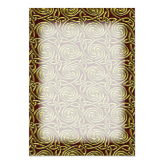 Gold And Red Celtic Spiral Knots Pattern 13 Cm X 18 Cm Invitation Card
